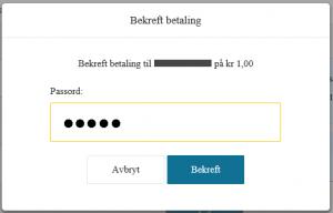 Eksempel på bekreftelse av betaling når du er logget inn uten BankID - Bilde 1