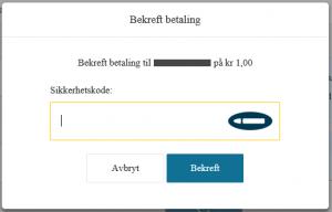 Eksempel på bekreftelse av betaling når du er logget inn uten BankID - Bilde 2